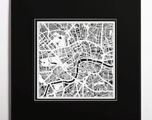 Paper cut map London , matted 20×20 In. color alternative, Paper Art  IDEAL GIFTS
