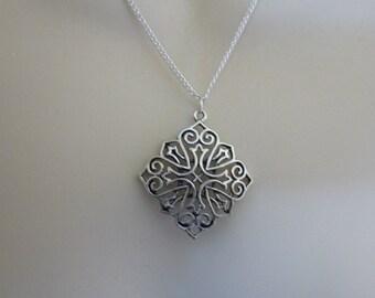 Fabulous Silver Filigree Necklace, Pendant, Silver Necklace