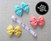 Interchangeable Chevron Headband Set, FOE, Grosgrain Bow, Mix and Match, Pink, Turquoise, Yellow, Baby, Toddler, Girl, Headbands and Bows