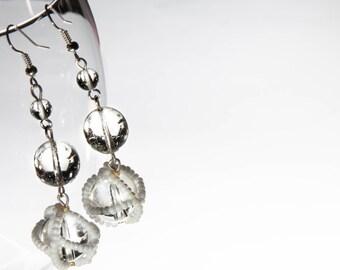 Beaded Pearl Ball Earrings, Beaded Earrings, Dangle Earrings, Silver Plated Hooks.