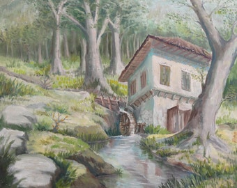 European 1970's art oil painting landscape water mill