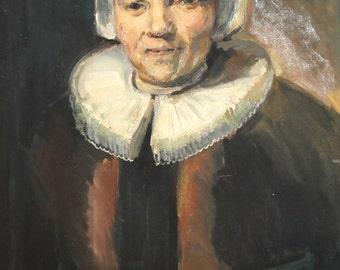 Vintage Impressionist oil painting Woman Portrait
