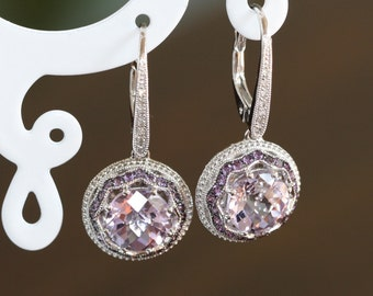 Art Deco Inspired Diamond and Amethyst Drop Earrings in 10k White Gold February Birthstone Earrings Dangling Purple Gemstone Earrings