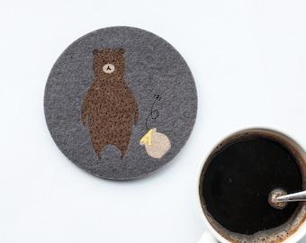 Felt animal Coaster No.4 Bear, original design,