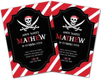 Pirate Invitation, Pirate Birthday Party Set, Pirate Party, Pirate invite, Ship, Pirate Centerpieces, Map, Pirate Decoration, Pirate decor