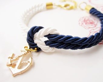 will you be bridesmaid gift, knot bracelet tie the knot bracelet anchor charm maid of honor gift rope bracelet baby shower favor nautical
