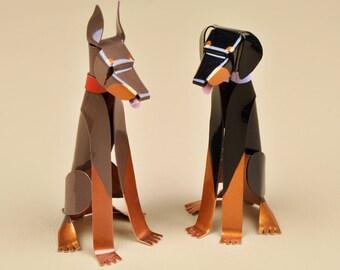 """Doberman Pinscher Dog Sculpture 3.75"""" tall Handmade Copper Miniature Collectible Art"""