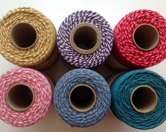 5 meters bakers twine coloured string Everlasto cotton beading macrame jewellery twine yarn packaging