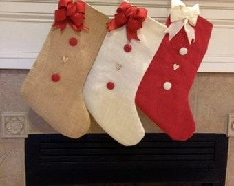 Burlap Christmas Stocking- Personalized Christmas Stocking