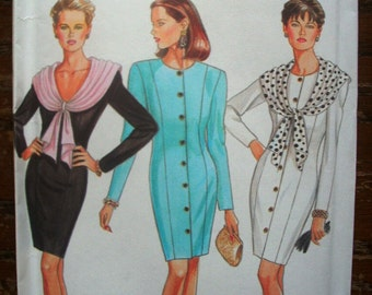 Vintage New Look Printed Pattern ~ New Look 6630 ~ Sizes 6 to 16 Bust 30 1/2 to 38 ~ 1980s Women's Dress Six Sizes In One