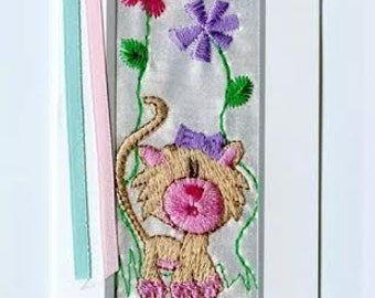 personalised, embroidered bookmarks