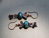 Artisan lampwork glass and copper dangle earrings. Handmade earrings.  OOAK Jewelry