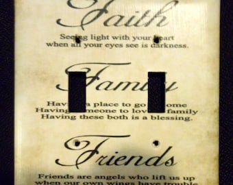 Faith Family Friends Home Decor Custom Light Switch Plate Cover *Various Type Covers Available*