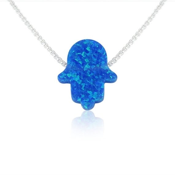 Blue opal hand necklace