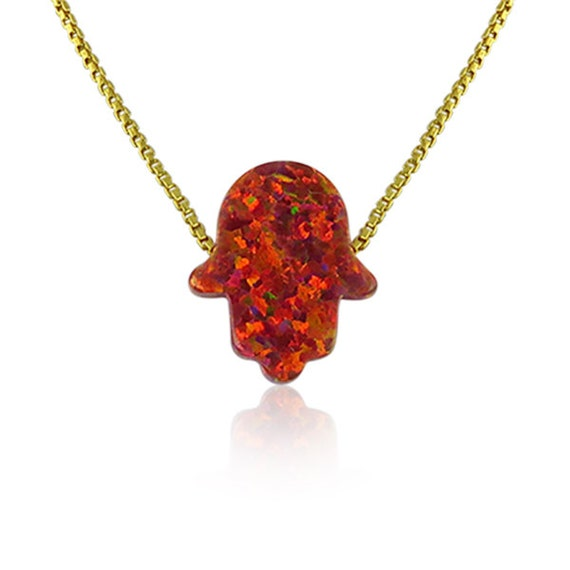Red Opal Hamsa Necklace • The Hand of God Necklace for Protection • Waterproof • Best Price on Etsy • Box or Link Chain and in 6 Lengths