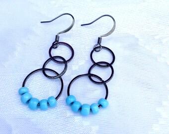 Gunmetal Earrings With Aqua Glass Beads, Dangle, Gunmetal Earwires