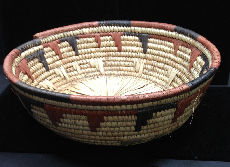 Handmade Baskets From Africa : African basket hausa nigeria handmade hand woven grass dyed