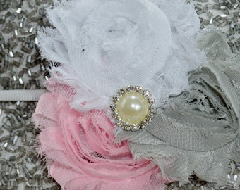 Chiffon rosette headband, Shabby Chic headband, Newborn baby toddler girl headband, Bow headband, White pink grey headband