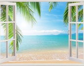Beach wall decal 3D window, tropical coast wall decal for living room and bedroom, coast wall art for kids nursery children decoration [164]