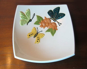 Handmade Square White Porcelain Decorative Letter Tray Plate Bowl with Butterflies and Flowers