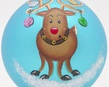 Custom Hand Painted Rudolph with Decorated  Antlers Ornament