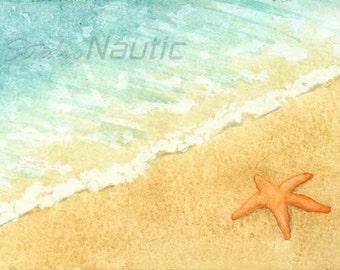 Starfish on Beach Original Watercolor with White Mat  8x10