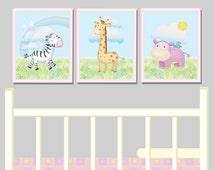 Baby Girl Pink Bedroom Nursery Wall Animal Prints Child's Bedroom Safari Jungle Décor Nursery Print Baby Room Picture, Baby Nursery 3 Prints
