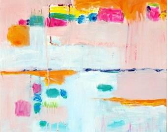Abstract Art, Abstract Painting Print Pink Peach Coral, Canvas Wall Art Print, Abstract Pastel Wall Art Print, Abstract Home Decor Large