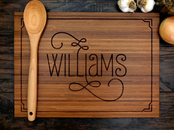 Personalized Wedding Gift Custom Engraved Wood Cutting Board
