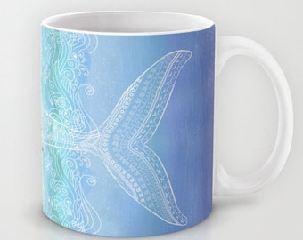 Mug nautical whale. Hand paintedSpring