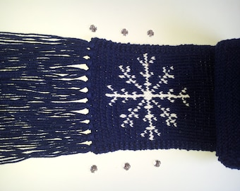 Royal Blue Snowflake Knitted Unisex Long Scarf with Strings
