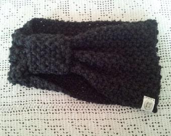Charcoal Grey Knit Ear Warmer / Knit headband / Knit  Head Wrap / Knit Turban