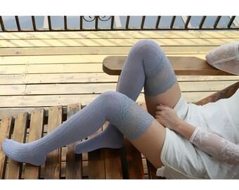 Light Gray Womens Knit Socks Knee Socks Thigh High Socks Boot Socks Lace Socks Thigh High Knit Socks Over The Knee Socks No09