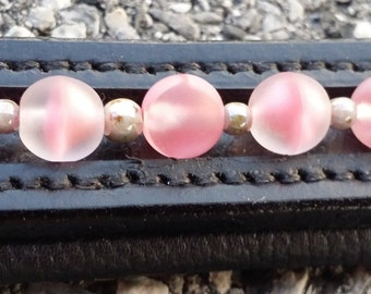 Tickled Pink  dressage browband made of vintage glass beads with silver bead spacers