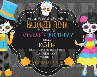 Day of the Dead, Halloween, Dia de los Muertos Invitation. Digital File. Customized. 4x6 or 5x7 JPEG File.