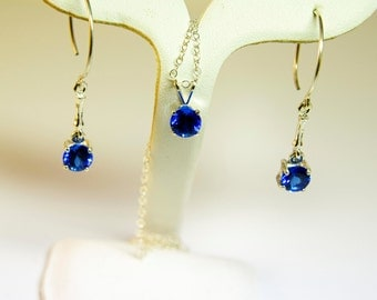 Blue Spinel Necklace and Dangle Earrings