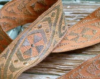 One metre of Antique French ecclesiastical metallic trim in Burnt orange & antique gold, crafts, scrapbooking, supplies, jewellery, trim