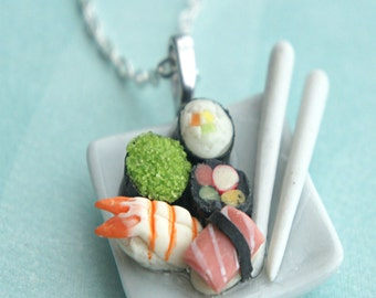 sushi plate necklace- miniature food jewelry, sushi jewelry