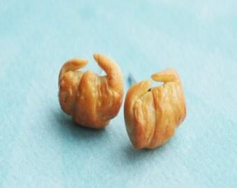croissant stud earrings- miniature food jewelry, food earrings