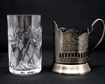 Russian Crystal Tea Glass & metal glass holder (podstakannik) suitable for hot/cold liquids NEW