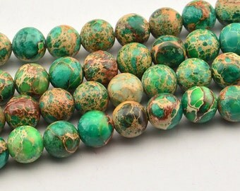 "15.5""8mm Beautiful  Green Sea Sediment Jasper Round Beads"