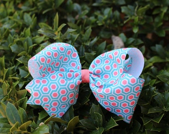 Honeycomb Agua/ Coral Boutique Hair Bow Girls Bow Teens Bow, Baby headband,