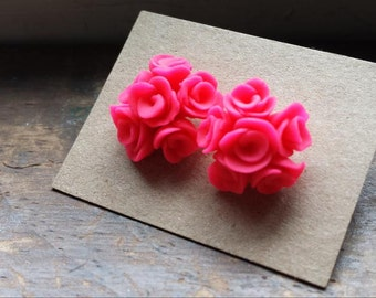 Handmade Polymer Clay Rose Earrings (color options available)