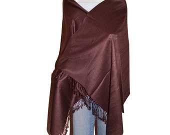 Brown Women's Solid Color Pashmina Shawl Wrap Stole Scarf