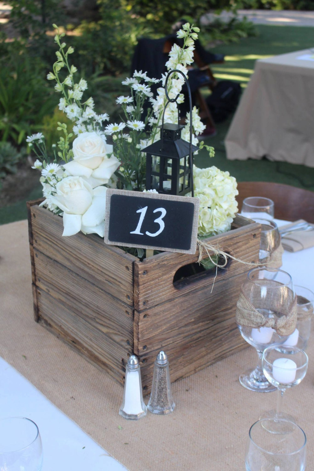 Wooden crate centerpiece boxes for wedding rustic home