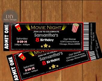 Movie Night Birthday Invitation * Digital Party Invitation * You Print