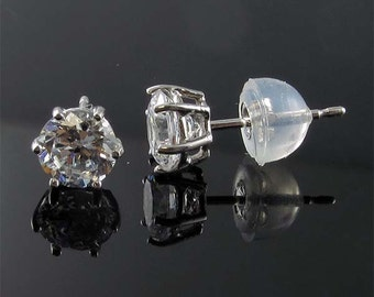 ITEM E15015-6 14K yellow or white gold 0.5-2 ct each side 6 prong stud earrings