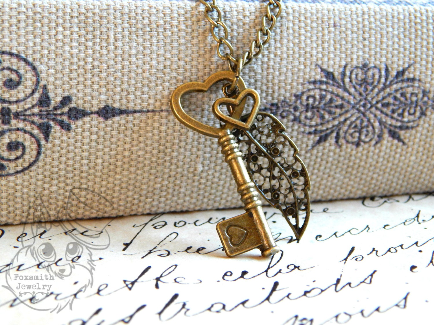 Leaf Heart Key Necklace // Steampunk Bronze Fashion Costume Jewelry // Spring Fantasy Womens Pendant // Unique Designer Nature Gift steampunk buy now online