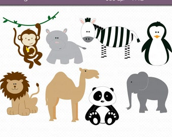 Zoo Animals Digital Art Set Clipart Commercial Use Clip Art INSTANT DOWNLOAD Zoo Clipart Animal Clipart