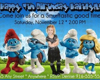 The Smurfs Photo Birthday Invitation